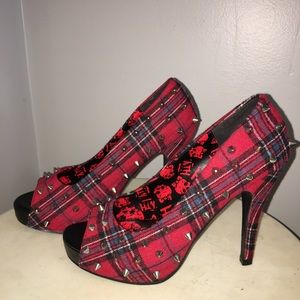 Tartan Plaid Rockdoll Peeptoe Pumps